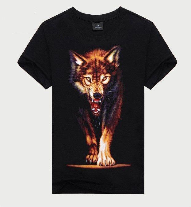 21df1f1139 Camisa Estampa Lobo 3D Estilo Casual 100% Algodão