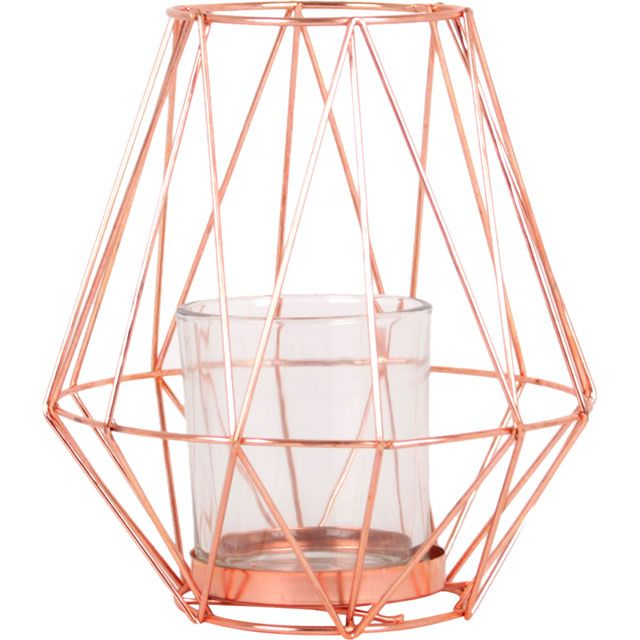 Our copper crush! Shop the geometric candle holder