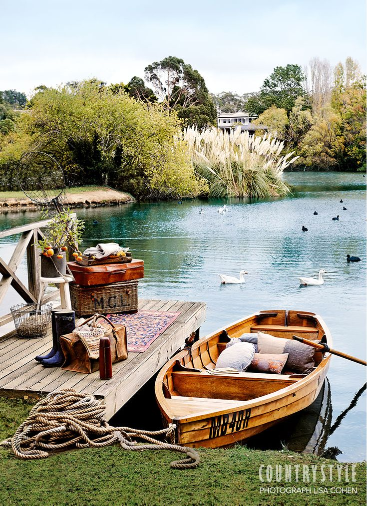 Country Style magazine. Your rowboat awaits, well equipped for a picnic on Lake Daylesford. Photography Lisa Cohen, Styling Tessa Kavanagn. #decorating #boatonlakesummer