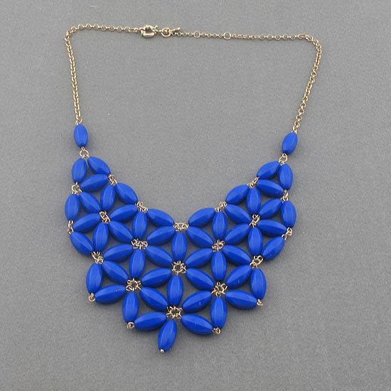 Handmade Blue Fan Bubble Necklace Bib Statement Necklace Holiday Party