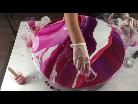 "Fluid-Art: ""Swirl"" technique acrylic pouring. Organic, round, tree ring like pattern - YouTube"