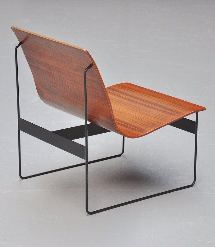 Günter Renkel; Teak Plywood and Enameled Metal Lounge Chair for Rego, 1959…