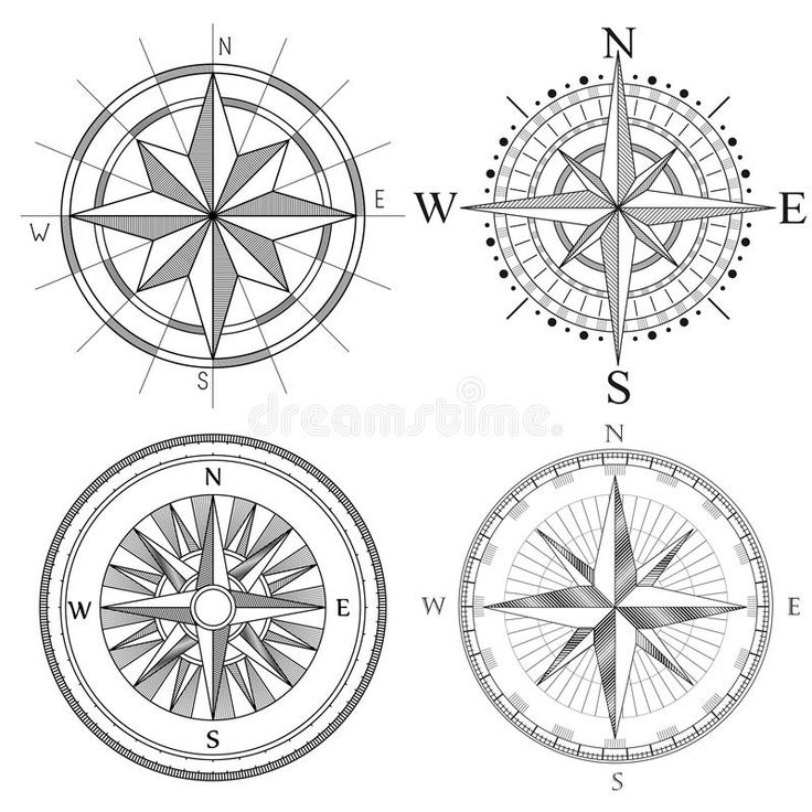 Download Set Illustration Of Artistic Compass. Stock