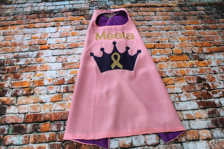 Princess Cancer Warrior Cape, Girls Superhero Cape, Pink with Purple liner, purple princess crown and gold glitter childhood cancer ribbon by TheCapeLady on Etsy
