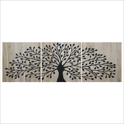 Mangowood Tree of Life Reverse Carved Artwork Triptych SoundslikeHOME