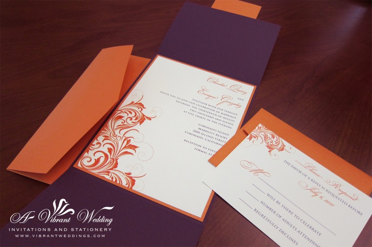Purple and Coral Wedding Invitation - wow you can combine both of the colors for your wedding!