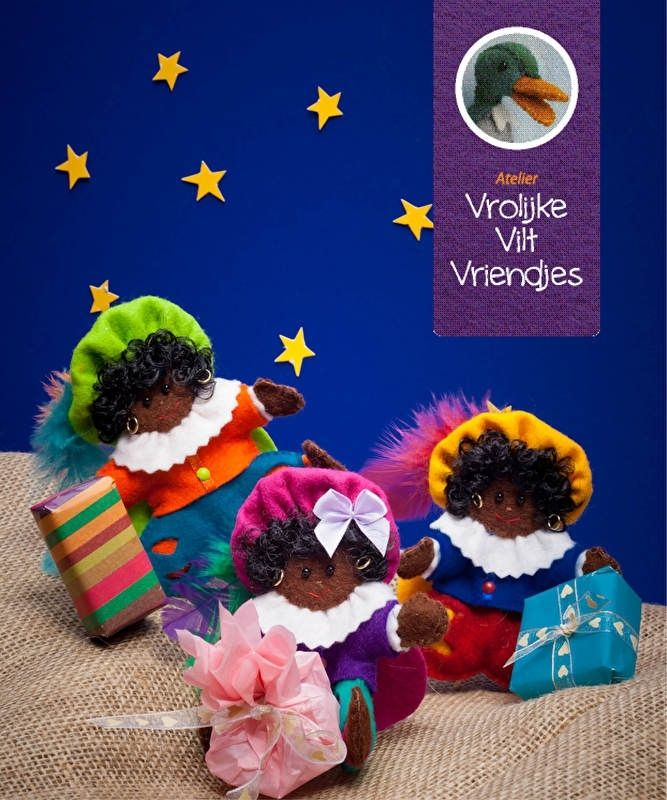 Zwarte Pieten uit het boekje vrolijke vilten vriendjes | Materialen Zwarte Pieten | Atelier Vrolijke Vilt Vriendjes