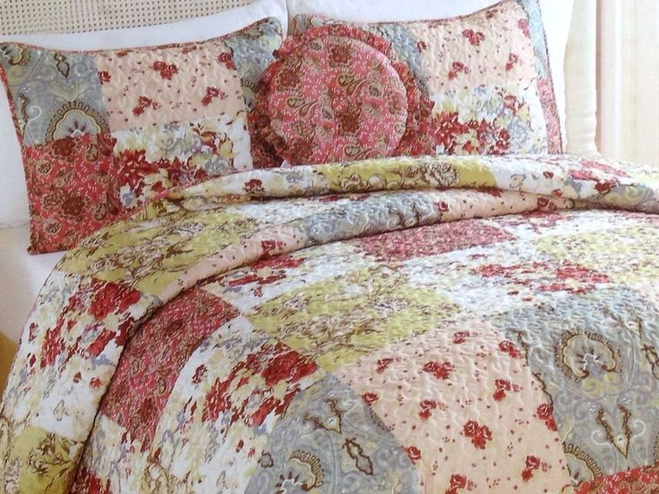 Patchwork Quilt Set Queen Shams Bedskirt Pillow Cottage Chic Beach  #PemAmerica #ShabbyCottageChic