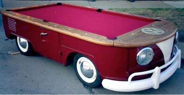 Old VW bus into pool table