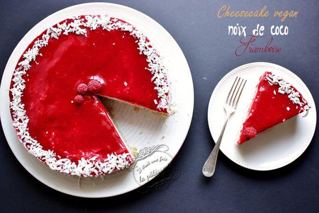 Cheesecake noix de coco et framboise végétalien {cru, sans gluten, sans lactose}