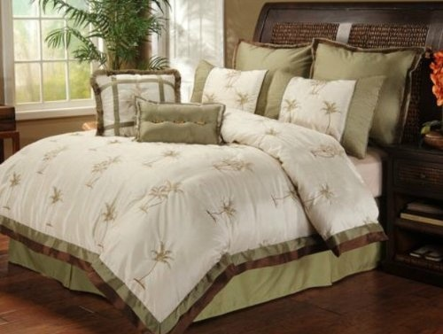 Palm Tree Quilt Sets: Palm Tree Tropical Queen Comforter Set (8 Piece Bed In A