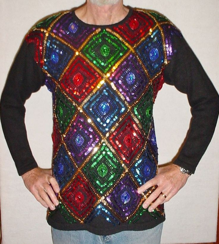 UGLY!! Vtg Mens/Ladies M Sparkling Bejeweled Sequined CHRISTMAS Tunic Sweater #Essence #Tunic