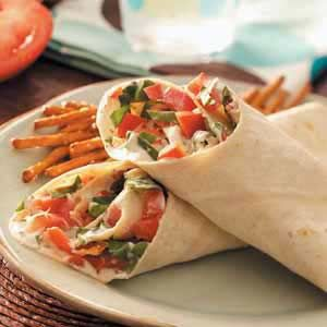 "Garden Veggie Wraps (with bacon crumbles, spinach, and cherry tomatoes)  I like to think of these as a ""Fancy BLT""... so delicious!"