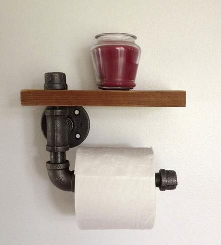 Reclaimed wood pipe toilet paper holder 2 do Creative toilet paper holder