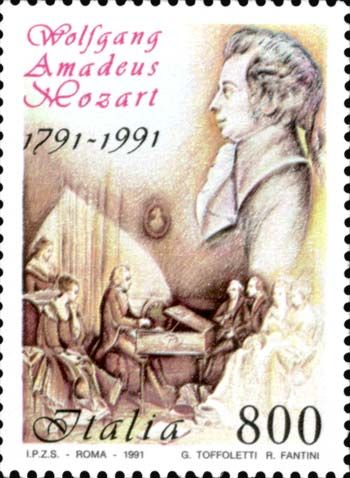 1991 - Bicentenario della morte di Wolfgang Amadeus Mozart - Ritratto del compositore ed un particolare di un'antica stampa raffigurante Mozart che suona una spinetta.