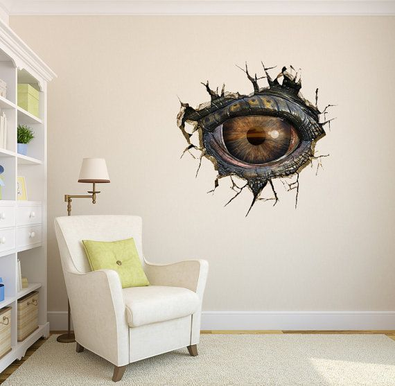 Dinosaur eyes 3d surreal creative painting wall for Sticker mural 3d