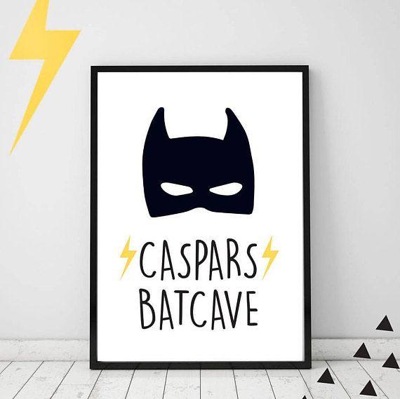 Custom Batman Batcave Print Black and White Wall Art Kids