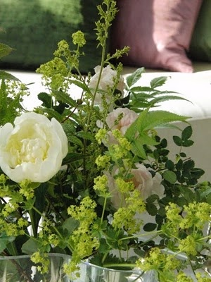 Flowers on the table from garden
