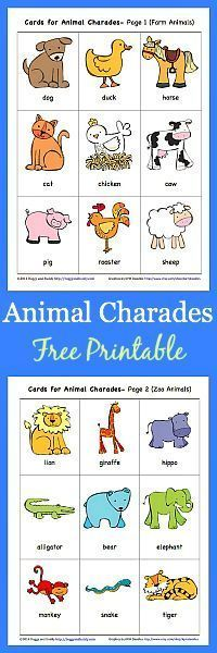 FREE Printable Animal Charades Game (with both Farm Animals and Jungle Animals)- Perfect for toddlers and preschool! ~ BuggyandBuddy.com