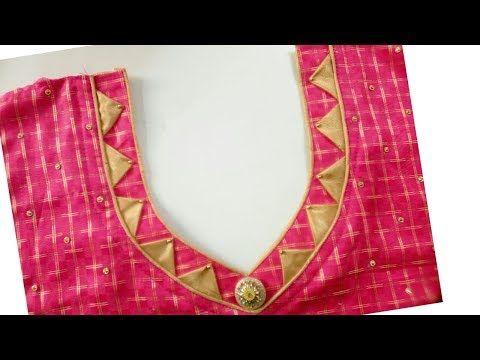 Dori&piping round neck design cutting and stitching in Hindi - YouTube