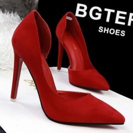 Cheapest Pumps New Fashion Simple Fine With High-Heeled Shallow Mouth Pointed Side Was Thin Hollow Sexy Shoes Red