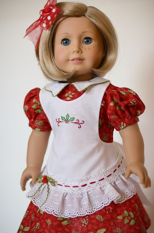 Christmas Holly for Kit -- American Girl Doll by AnnasGirls on Etsy, $55.00.  I love the embroidery and the little bow on the eyelet ruffle.