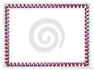 Frame and border of ribbon with the Russia flag. 3d illustration.