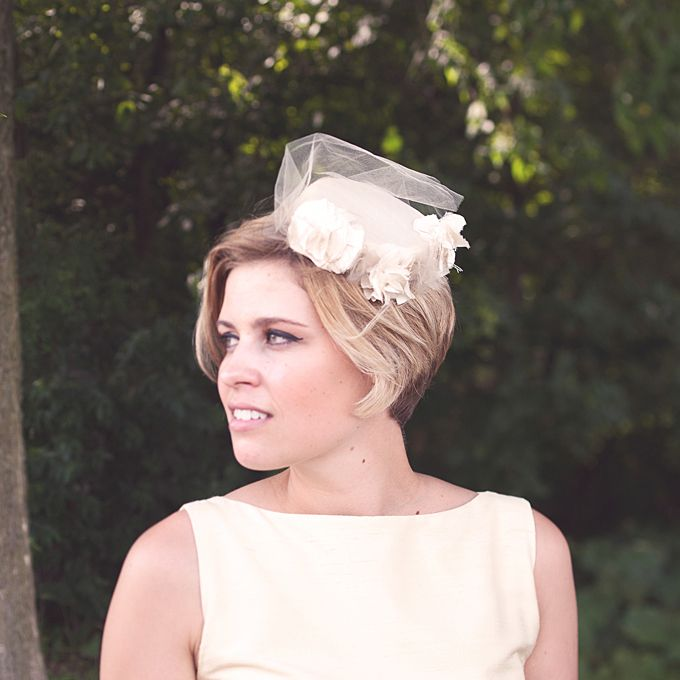 Brides.com: Wedding Hairstyles for Brides with Short Hair. A Straight Hairstyle With a Small Pillbox Hat  Pillbox hats are so Jackie O—so why not play up your cropped locks with a take on her favorite headgear? This mini pillbox embodies chic wedding style.  See more short wedding hairstyles.