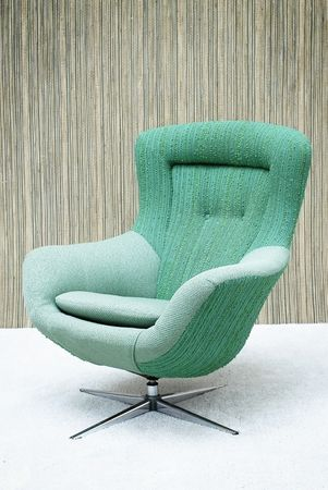Swivel #Chair with Turquoise Wool & Bouclette upholstery mounted on a Chrome base #furniture