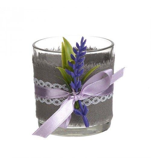 GLASS VOTIVE HOLDER W_LAVENDER D7_5X8