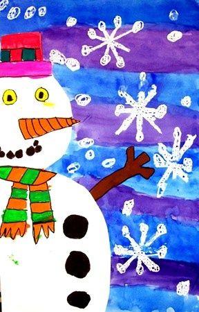 snowman - white crayon resist snowflakes and watercolor wash