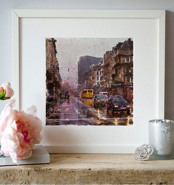 Car Traffic Rain Watercolor painting Wall art by Artsyndrome