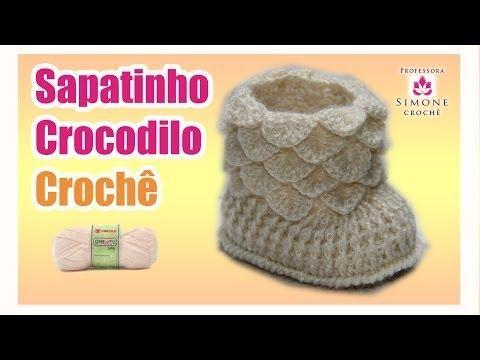 Passo a passo Sapatinho em crochê crocodilo - Professora Simone - YouTube