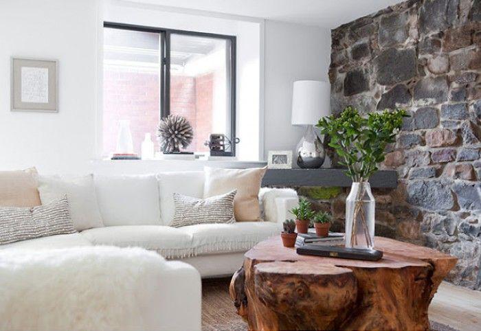 Durch eine steinmauer im wohnzimmer entsteht gleich eine - Steinmauer wohnzimmer ...