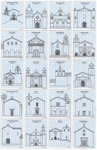 California Mission Drawing Guide and Coloring Book - Every year my 4th grade students really enjoy drawing California Missions. I've discovered they do their best work when they focus on a simple front view, but that's not always easy to find in photos. My solution was to make line drawings of each mission, on graph paper, so students could more easily see the edges and shapes.