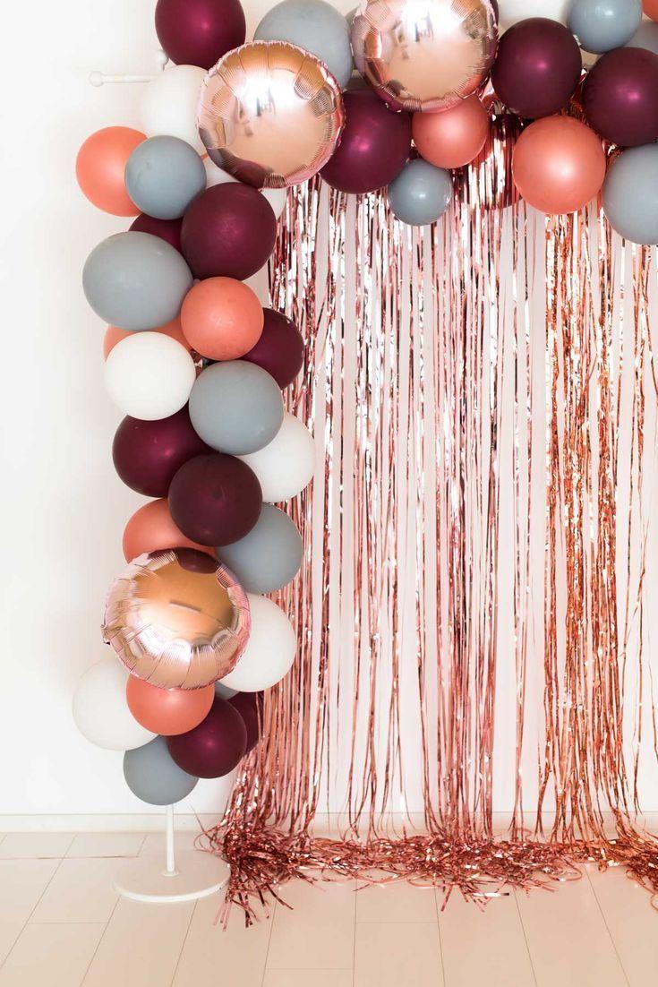 Balloon garland berry gray rose gold - wedding decor - #ballong garland #berrygreyrosegold #wedding deco