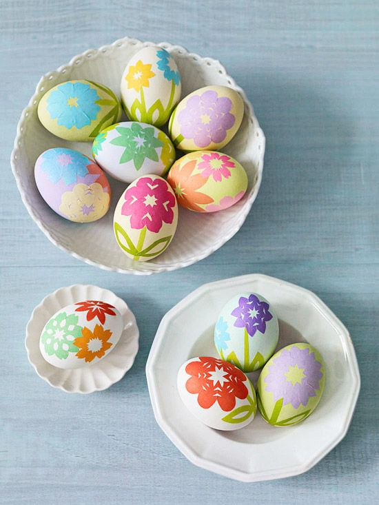 Kirigami Inspired Easter Eggs decorated with origami paper