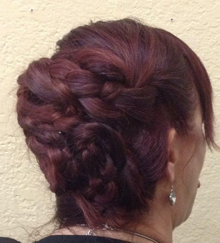 DIY UPDO... Take 3 ponytails, braid, twist , & pin in place!