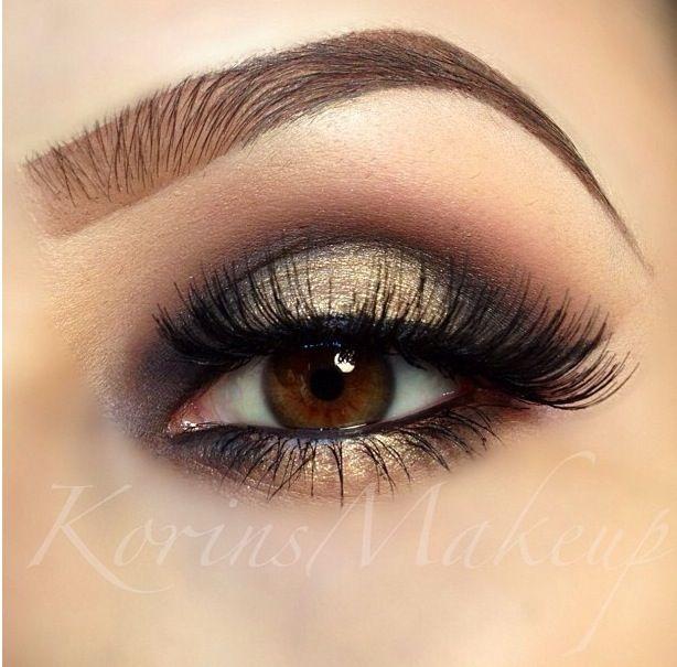 Gold eyeshadow: Brown Eyes, Make Up, Eye Makeup, Eyeshadows Looks, Beautiful, Makeup Eye, Nails, Eyebrows, Smokey Eye