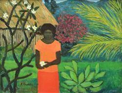 RAY CROOKE (1922-2015) Islander with Frangipani oil on canvasboard