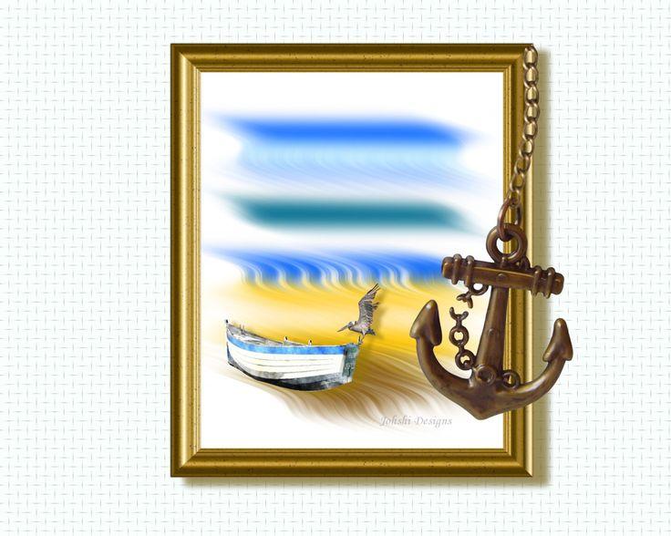 NAUTICAL - BIRD on boat - family holiday print -  digital download - printable art.Wall decor by JohshiDesigns on Etsy