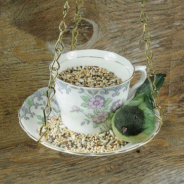 Hanging Bird Feeder Kit, Vintage Teacup, Pink by Bramble Bunny eclectic bird feeders