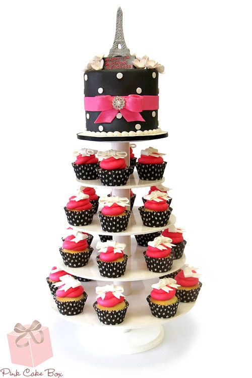 French Themed Sweet 16 Cupcake Tower 187 Pink Cake Box