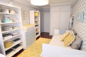 This is gives an idea of how to use a small space well.  Expect, a crib would go where the couch is in the photo.