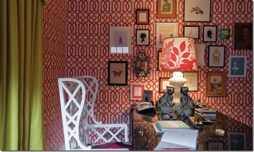 red imperial trellis eclectic home office