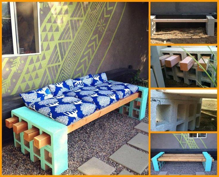 DIY Cinder block bench #DIY #home #funiture