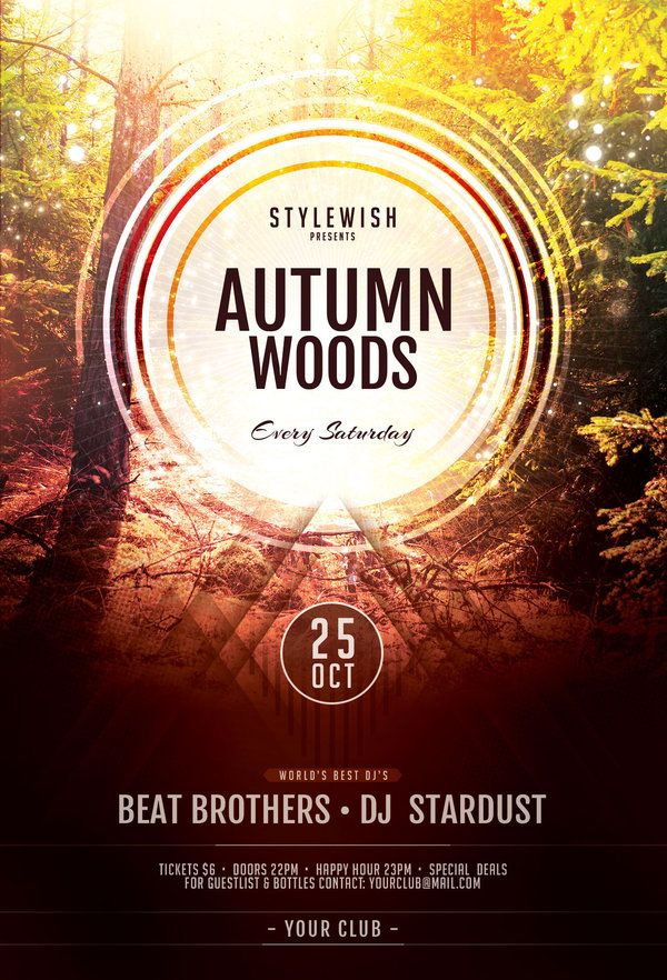 Autumn Woods Flyer by styleWish (Download PSD file)