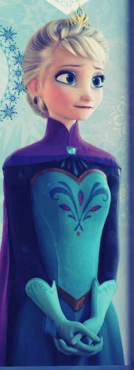 Elsa #disney #frozen  I thought that her dress in the beginning was actually really pretty.  don't get me wrong, i loved her ice dress and hair, but i thought this was beautiful.