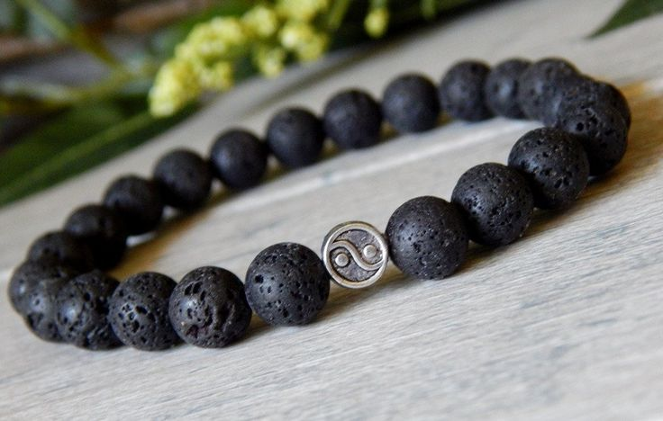 Mens Yin and Yang Bracelet made with Volcano Rock