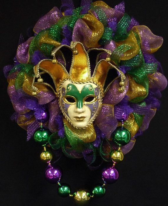 Mardi Gras Jester Mask Wreath Mardi Gras Beads by wreathsbyrobin, $89.00